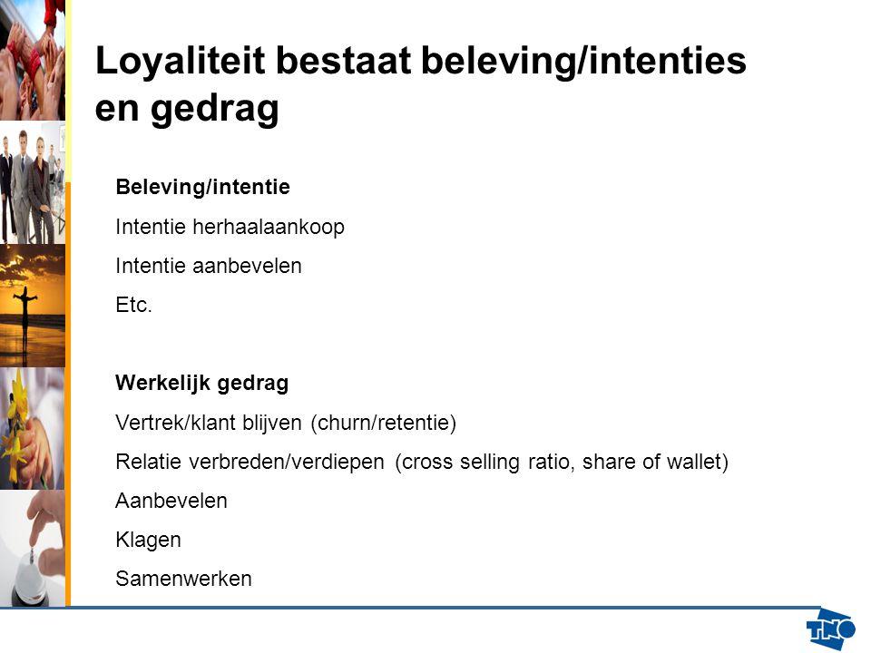 Loyaliteit bestaat beleving/intenties en gedrag