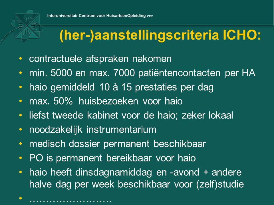 (her-)aanstellingscriteria ICHO:
