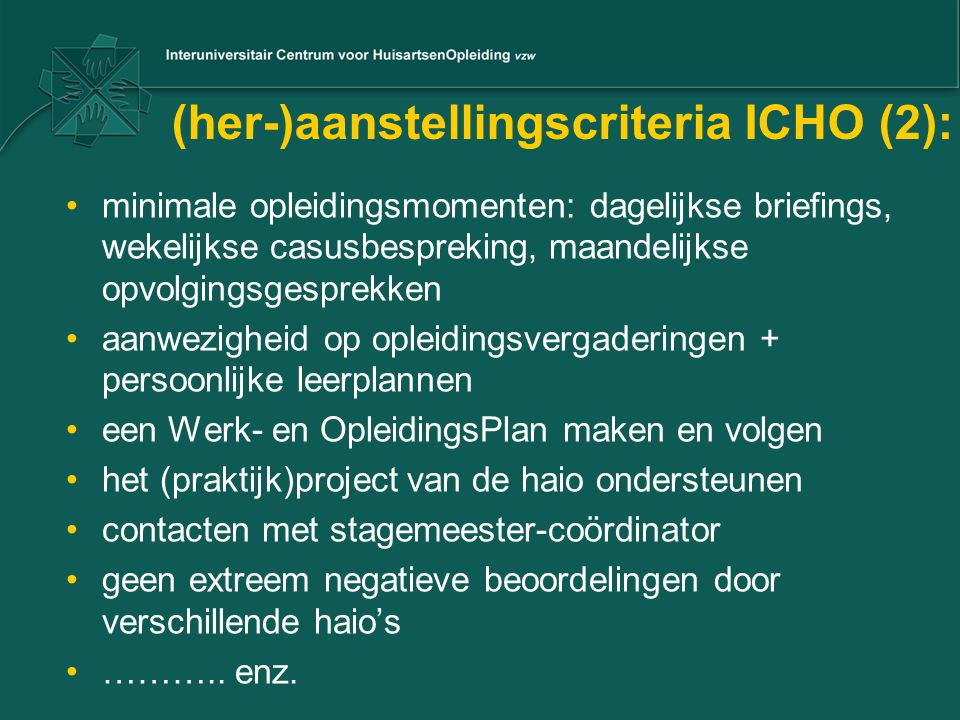 (her-)aanstellingscriteria ICHO (2):