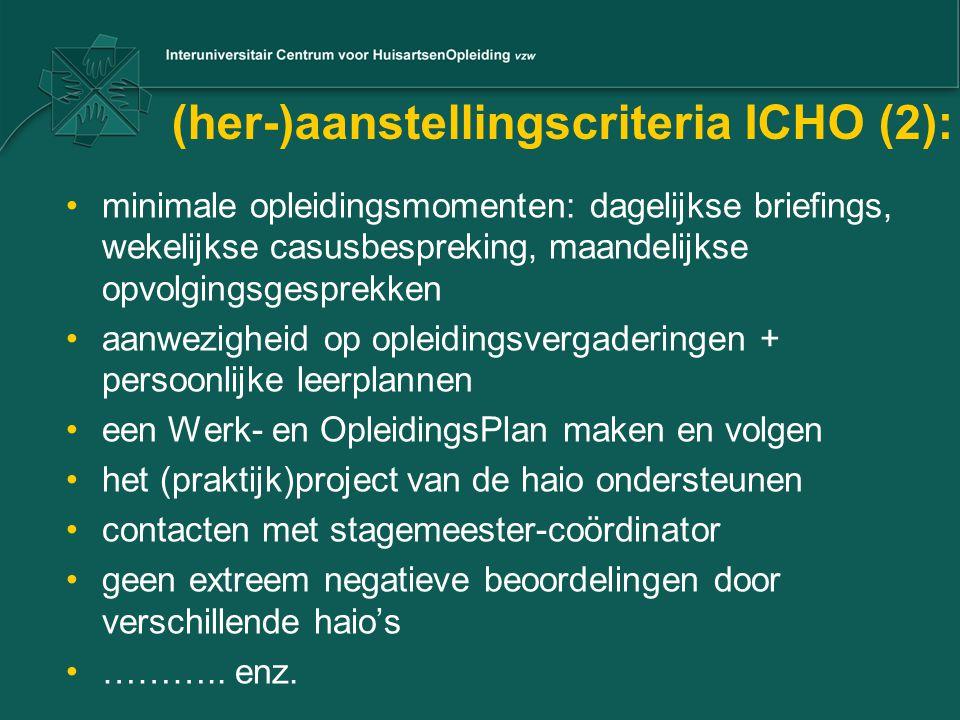 (her-)aanstellingscriteria ICHO (2):