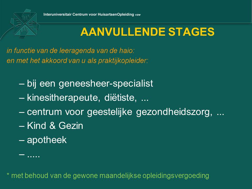 AANVULLENDE STAGES bij een geneesheer-specialist