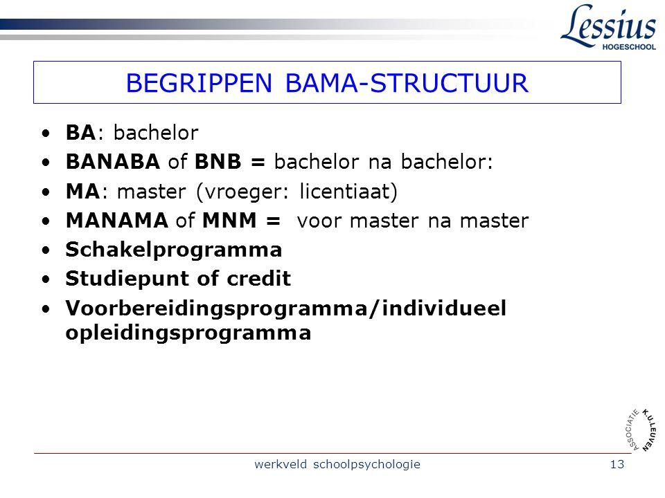 BEGRIPPEN BAMA-STRUCTUUR