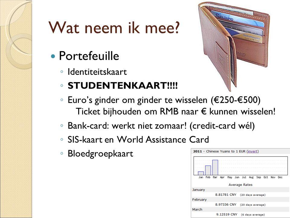 Wat neem ik mee Portefeuille Identiteitskaart STUDENTENKAART!!!!