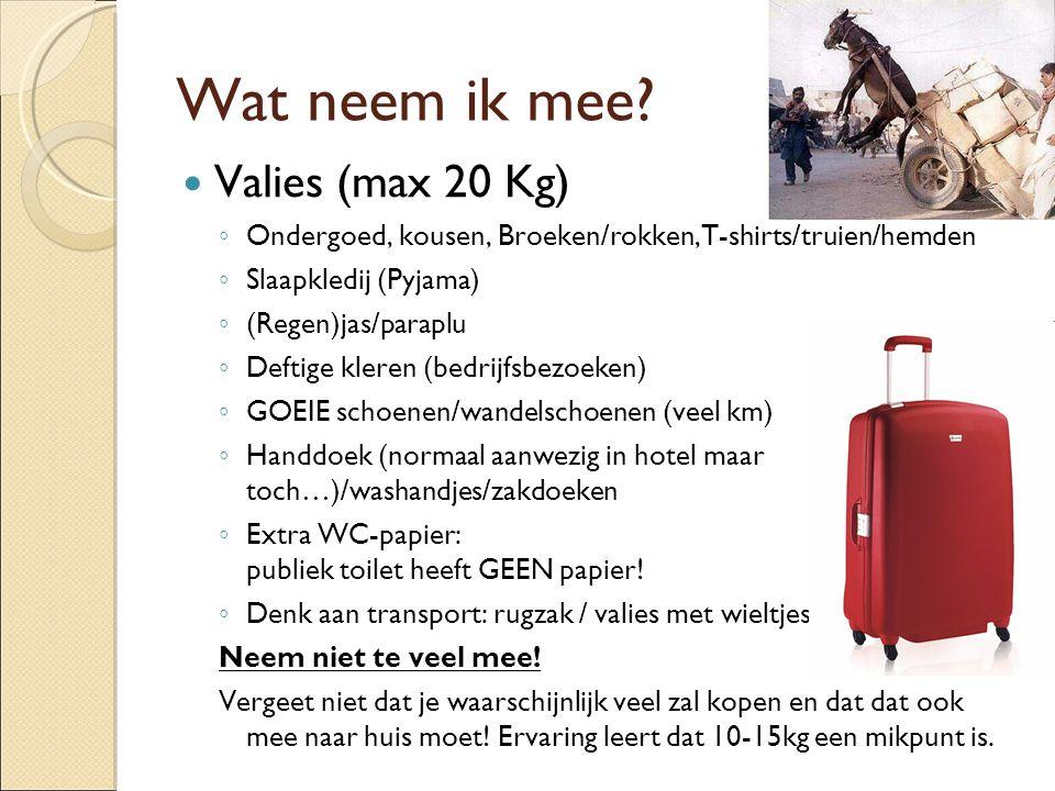 Wat neem ik mee Valies (max 20 Kg)