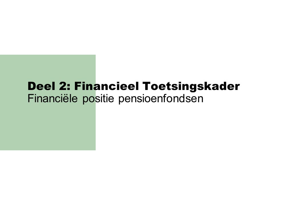 Deel 2: Financieel Toetsingskader Financiële positie pensioenfondsen