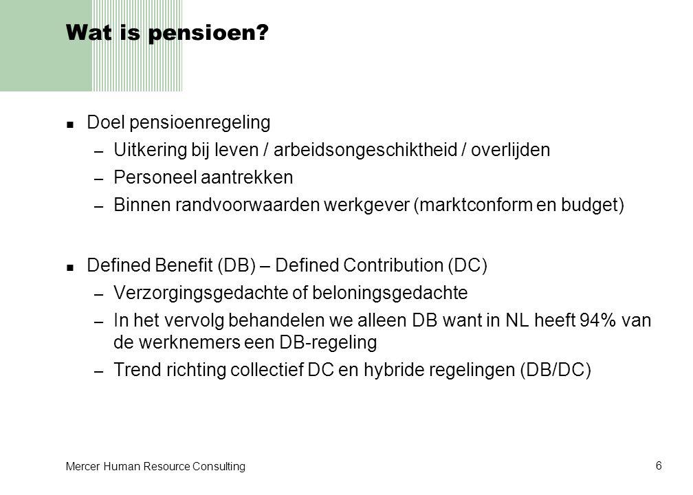 Wat is pensioen Doel pensioenregeling