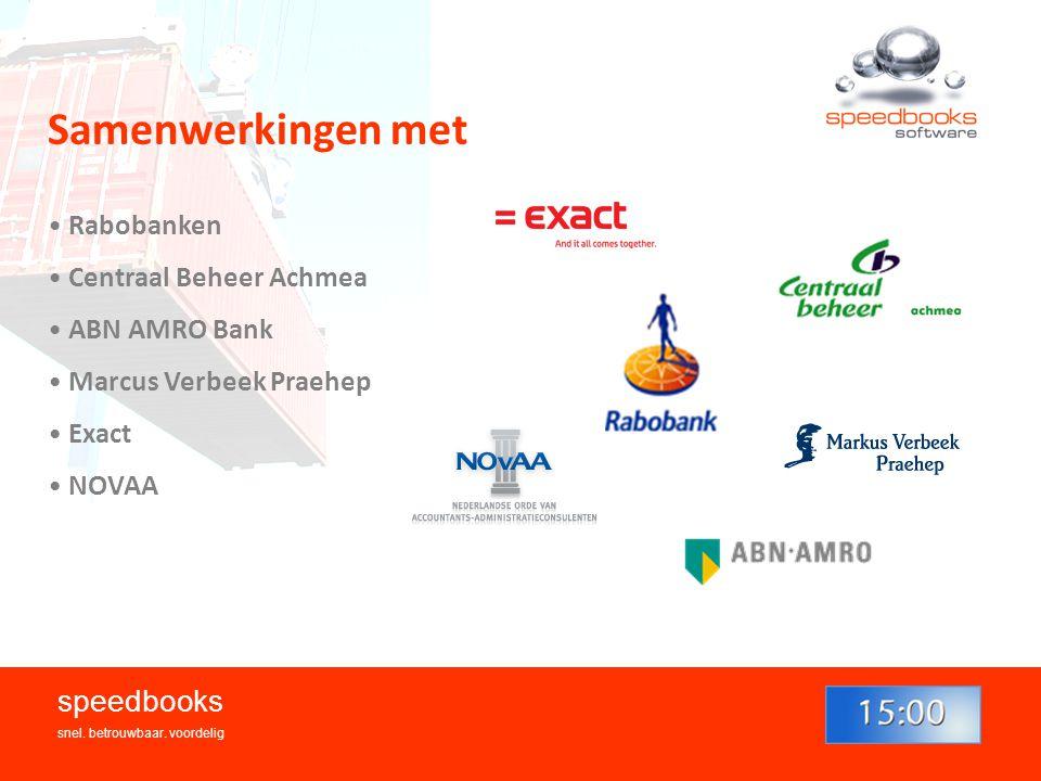 Samenwerkingen met speedbooks Rabobanken Centraal Beheer Achmea