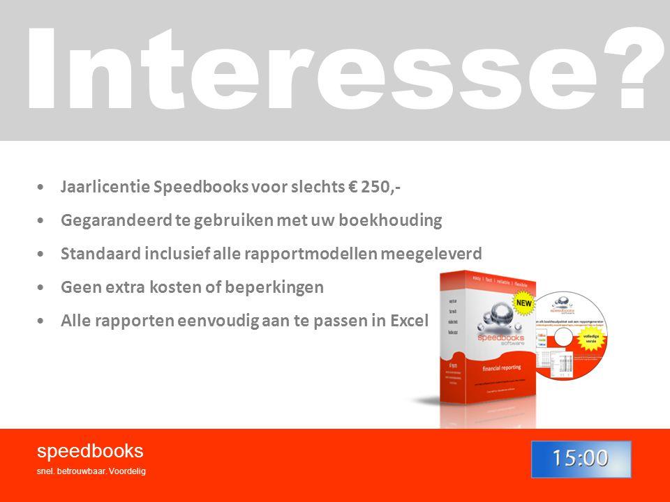 Interesse speedbooks Jaarlicentie Speedbooks voor slechts € 250,-