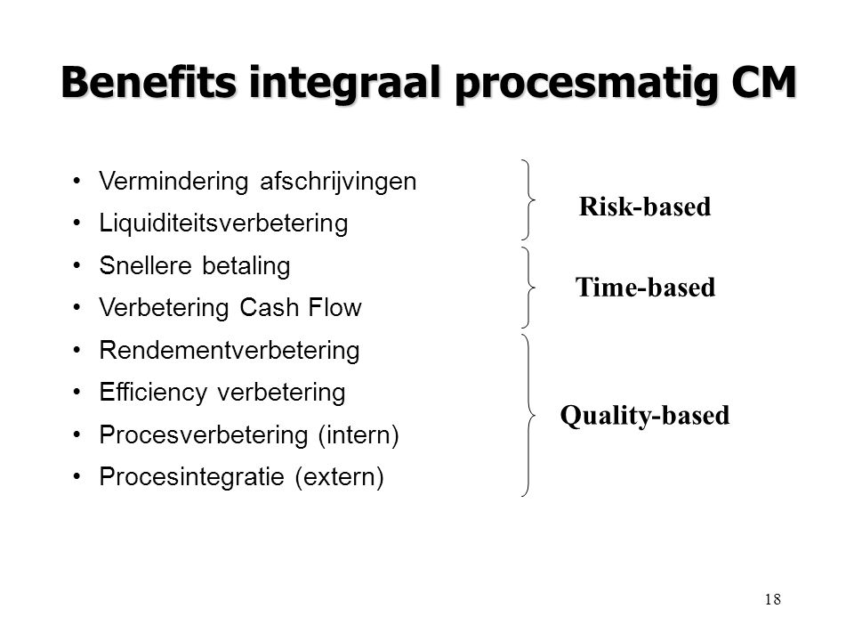 Benefits integraal procesmatig CM