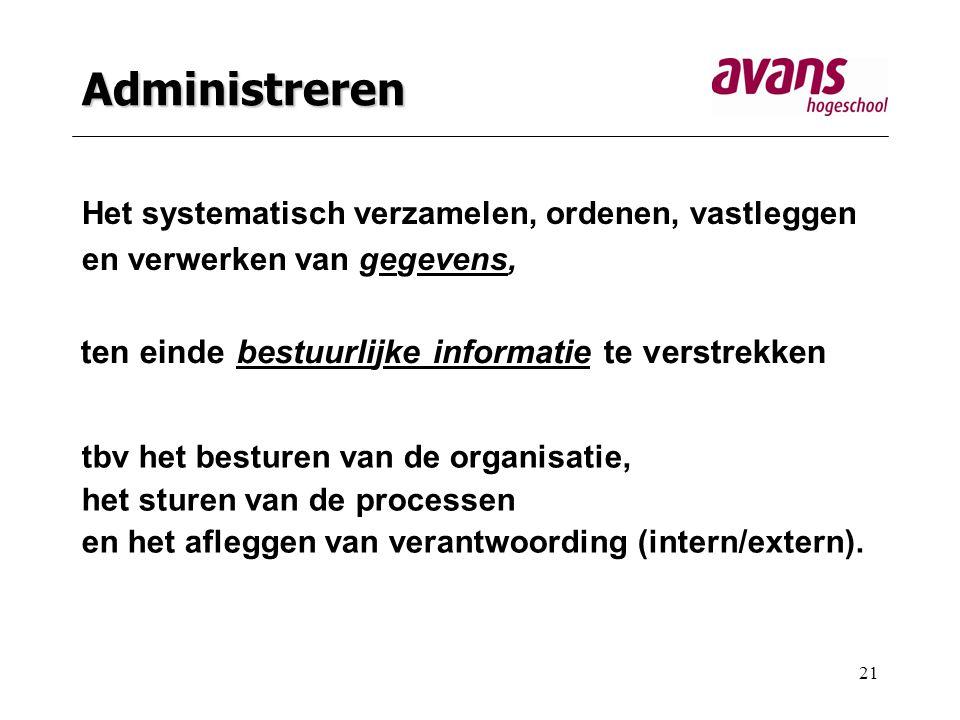 Administreren ten einde bestuurlijke informatie te verstrekken