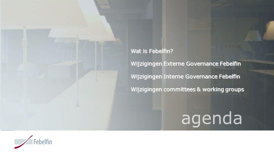 agenda Wat is Febelfin Wijzigingen Externe Governance Febelfin
