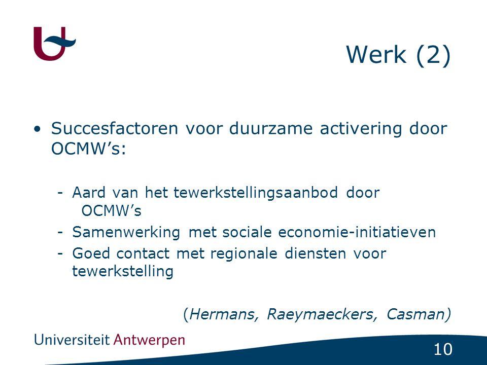 Werk (2) Succesfactoren voor duurzame activering door OCMW's: