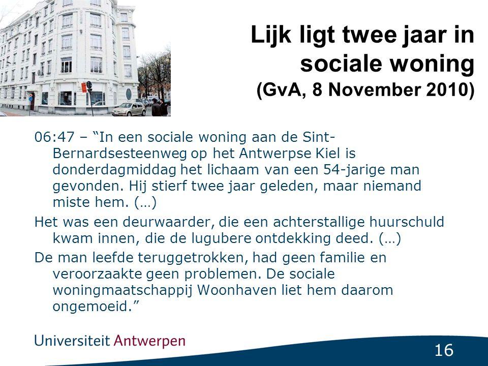 Lijk ligt twee jaar in sociale woning (GvA, 8 November 2010)