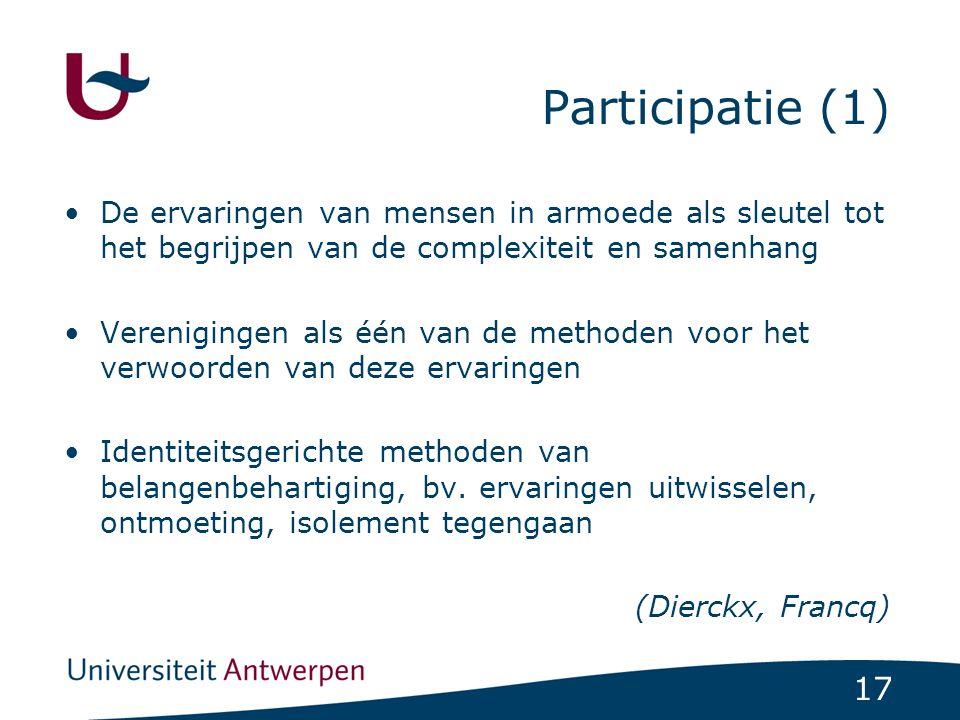 Participatie (1) De ervaringen van mensen in armoede als sleutel tot het begrijpen van de complexiteit en samenhang.
