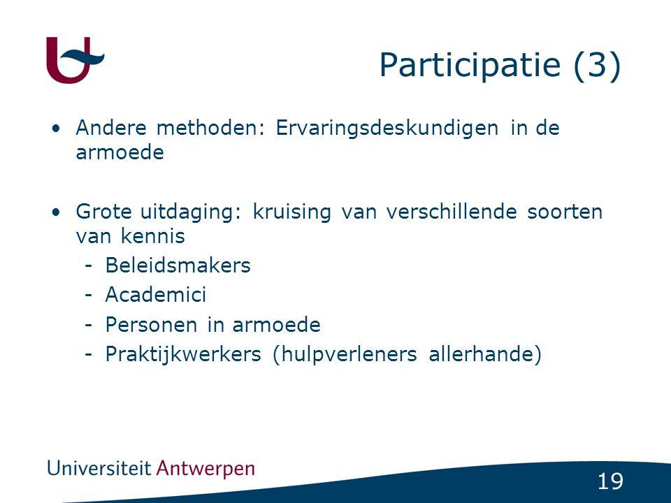 Participatie (3) Andere methoden: Ervaringsdeskundigen in de armoede