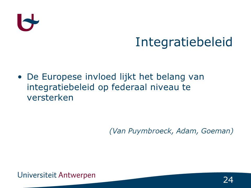 Integratiebeleid De Europese invloed lijkt het belang van integratiebeleid op federaal niveau te versterken.