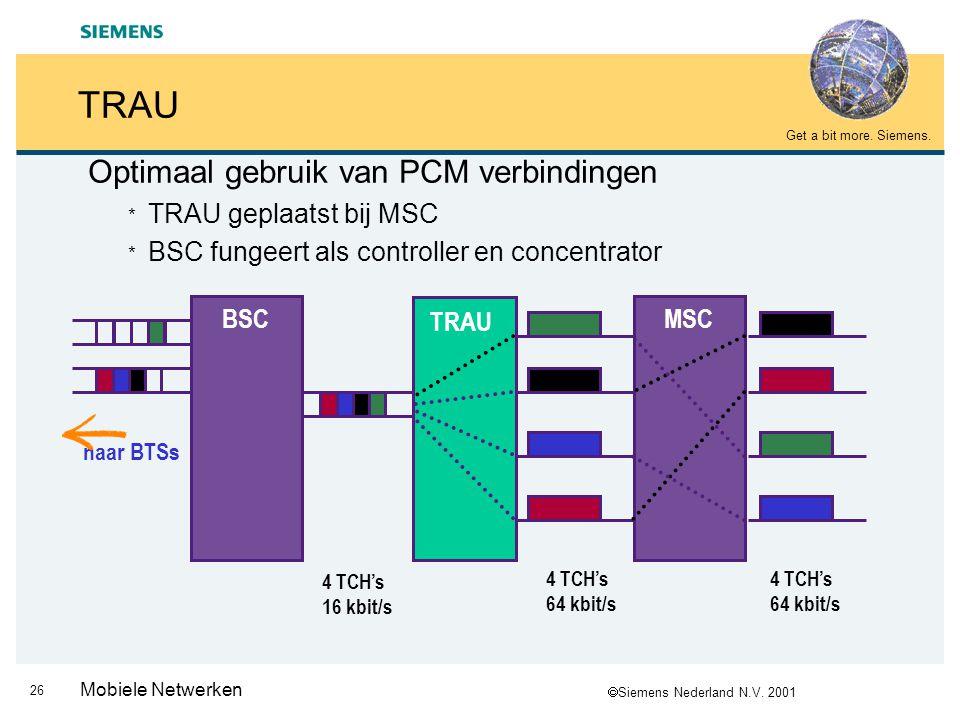 TRAU Optimaal gebruik van PCM verbindingen TRAU geplaatst bij MSC