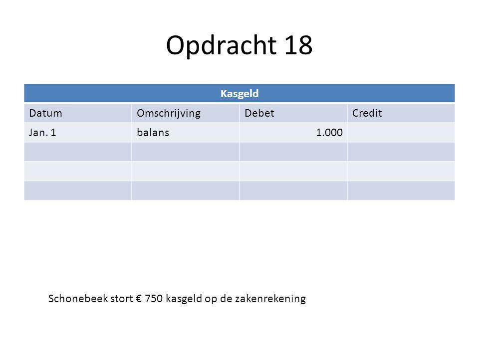 Opdracht 18 Kasgeld Datum Omschrijving Debet Credit Jan. 1 balans