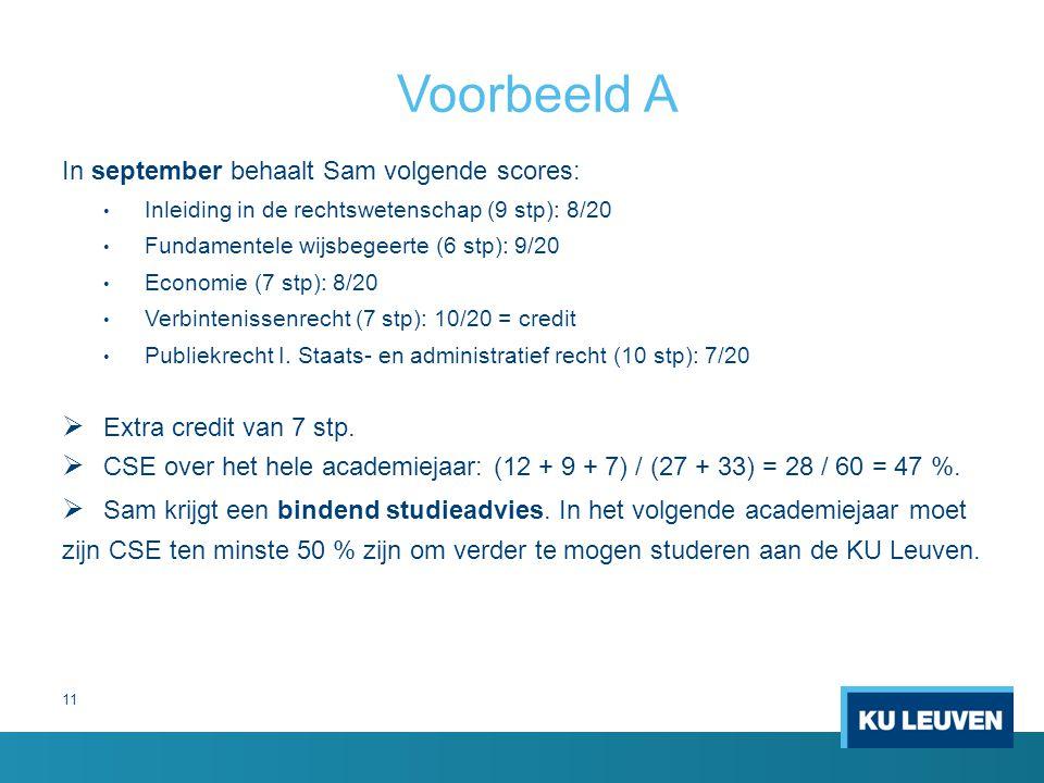 Voorbeeld A In september behaalt Sam volgende scores: