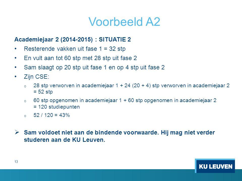 Voorbeeld A2 Academiejaar 2 (2014-2015) : SITUATIE 2