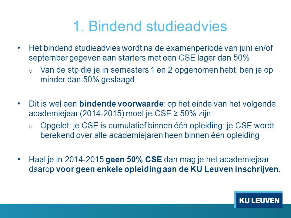 1. Bindend studieadvies Het bindend studieadvies wordt na de examenperiode van juni en/of september gegeven aan starters met een CSE lager dan 50%