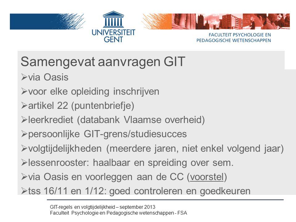 Samengevat aanvragen GIT