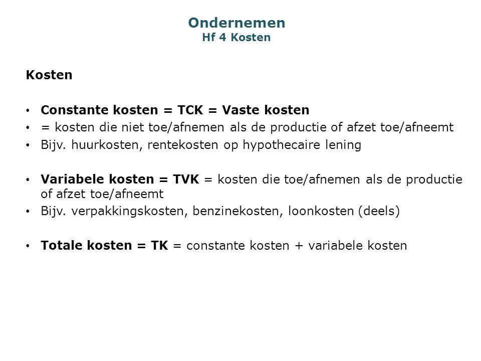 Ondernemen Hf 4 Kosten Kosten Constante kosten = TCK = Vaste kosten