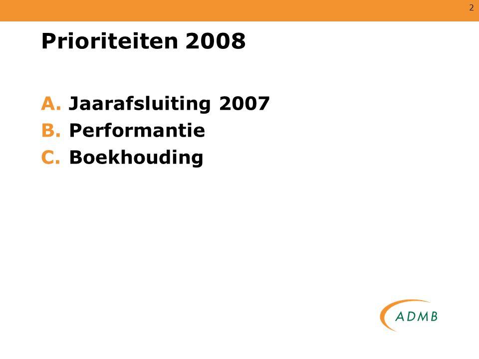 Prioriteiten 2008 Jaarafsluiting 2007 Performantie Boekhouding