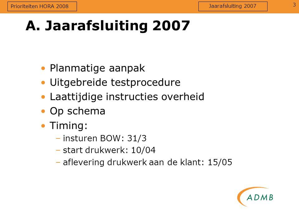 A. Jaarafsluiting 2007 Planmatige aanpak Uitgebreide testprocedure