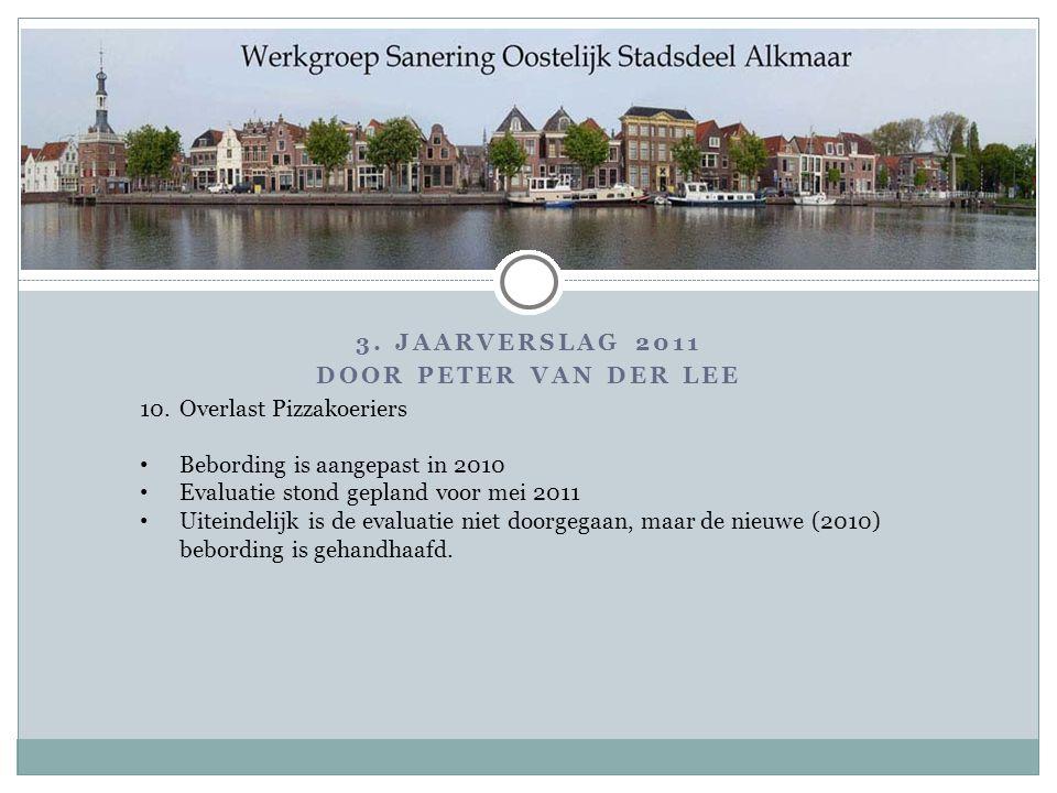 3. Jaarverslag 2011 Door PETER VAN DER LEE. 10. Overlast Pizzakoeriers. Bebording is aangepast in 2010.
