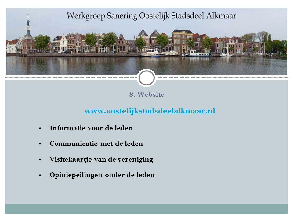 www.oostelijkstadsdeelalkmaar.nl 8. Website Informatie voor de leden