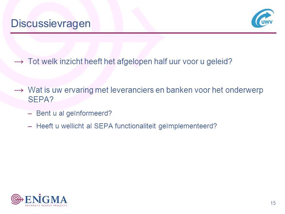 Discussievragen Tot welk inzicht heeft het afgelopen half uur voor u geleid Wat is uw ervaring met leveranciers en banken voor het onderwerp SEPA