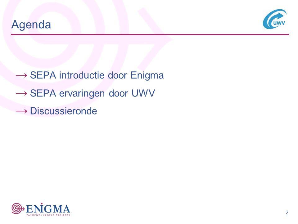 Agenda SEPA introductie door Enigma SEPA ervaringen door UWV