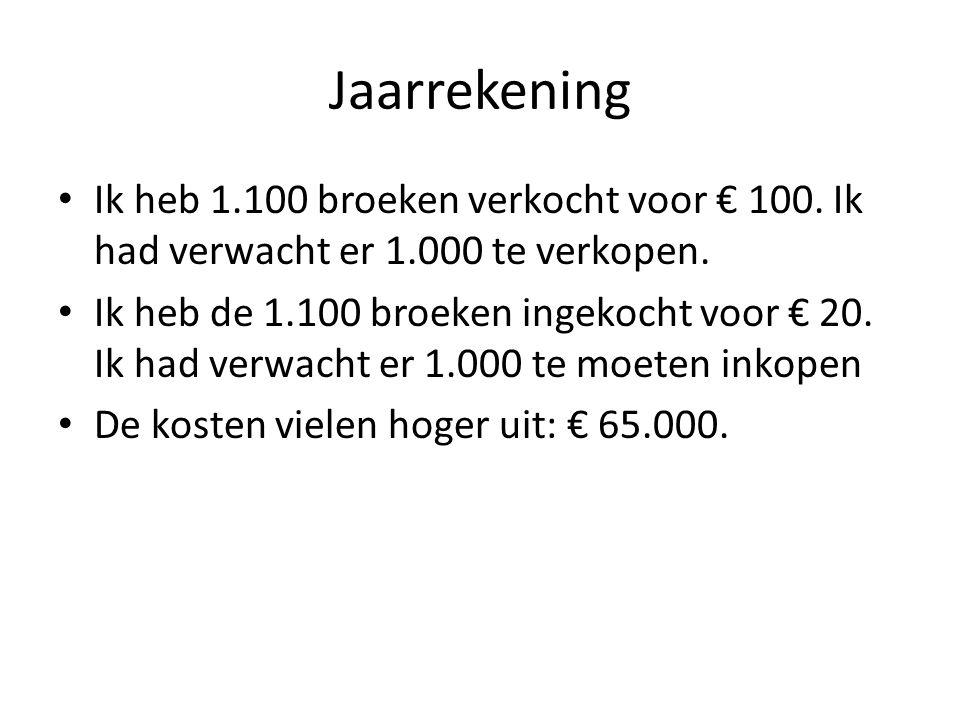 Jaarrekening Ik heb 1.100 broeken verkocht voor € 100. Ik had verwacht er 1.000 te verkopen.