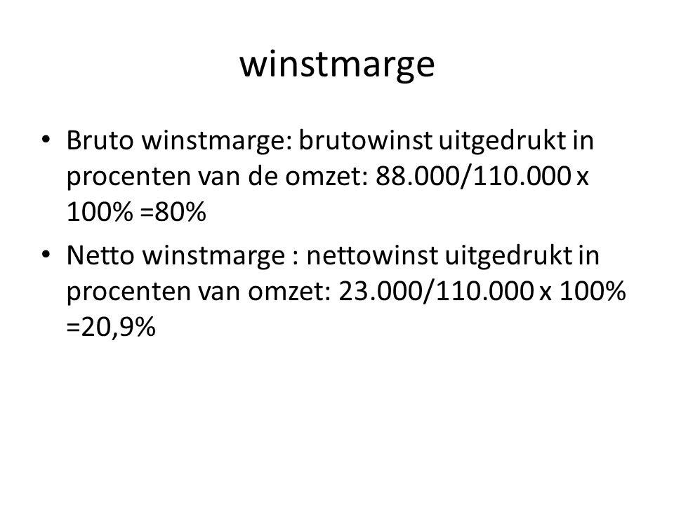 winstmarge Bruto winstmarge: brutowinst uitgedrukt in procenten van de omzet: 88.000/110.000 x 100% =80%
