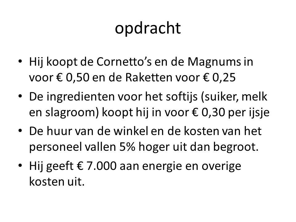 opdracht Hij koopt de Cornetto's en de Magnums in voor € 0,50 en de Raketten voor € 0,25.