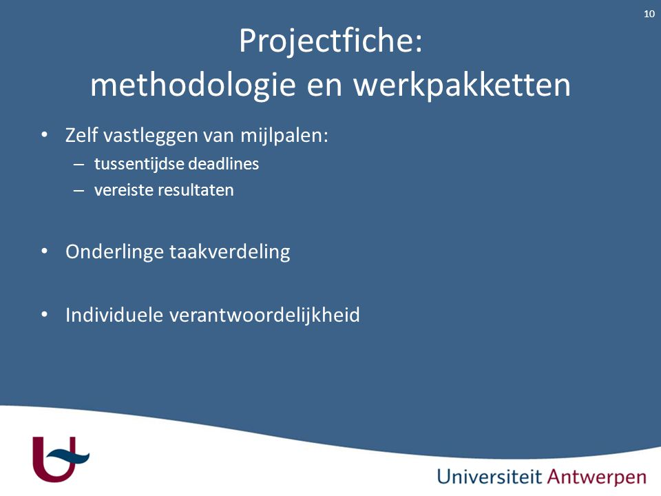 Projectfiche: methodologie en werkpakketten