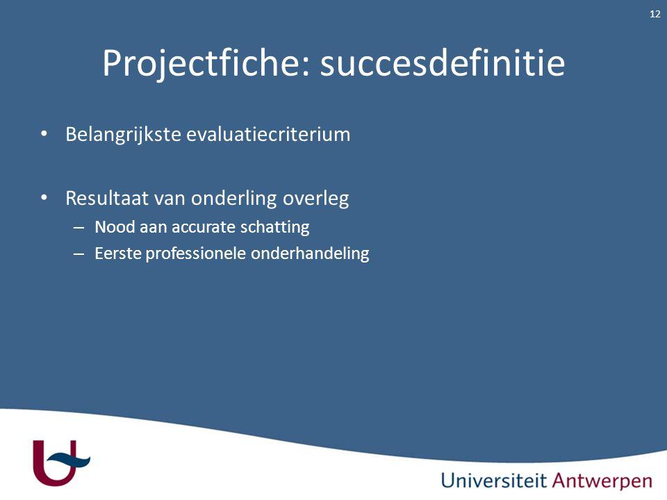 Projectfiche: succesdefinitie