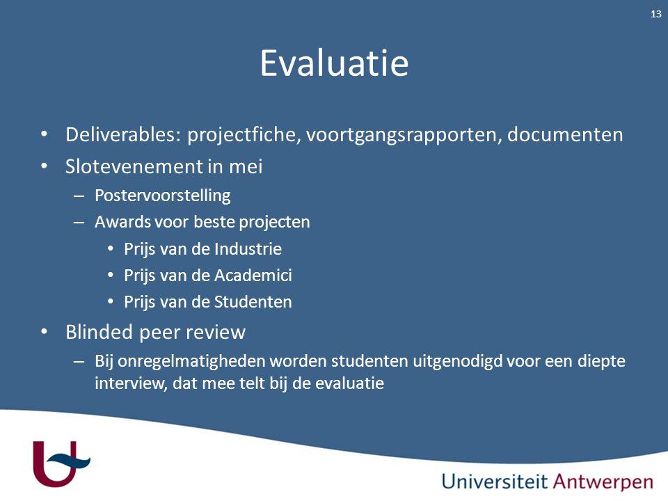 Evaluatie Deliverables: projectfiche, voortgangsrapporten, documenten