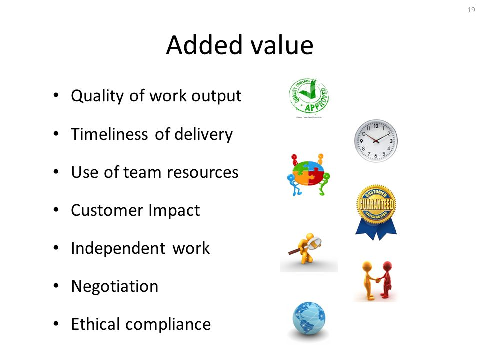 Added value Quality of work output Timeliness of delivery