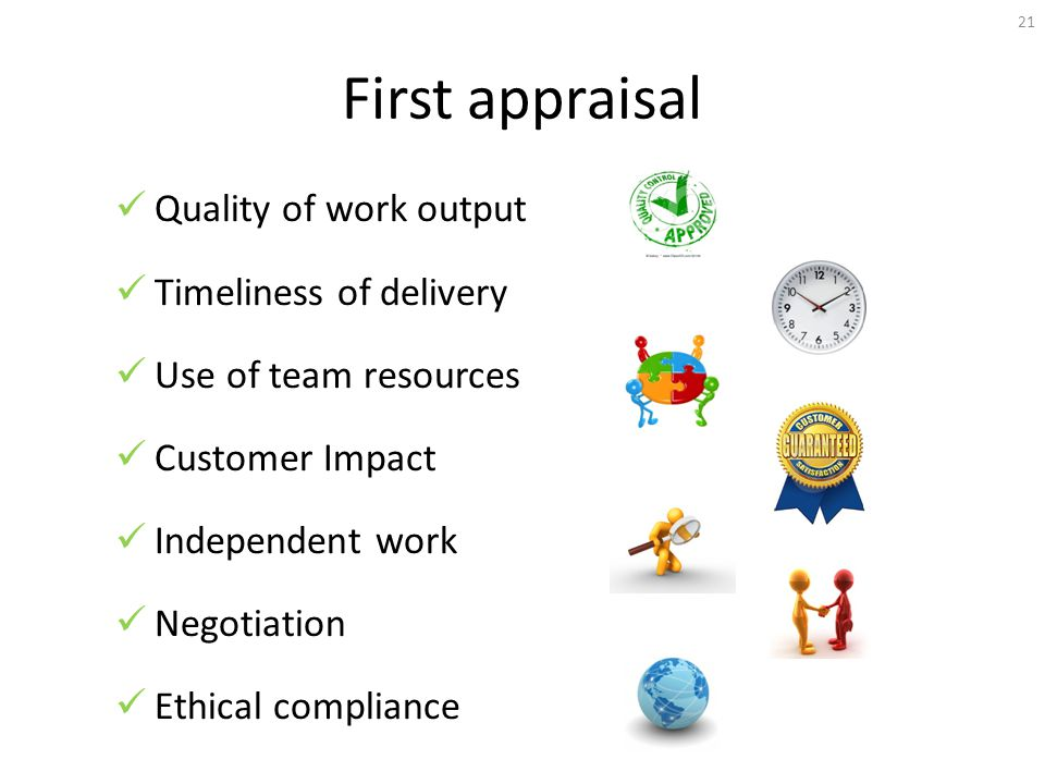 First appraisal Quality of work output Timeliness of delivery