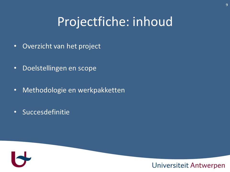 Projectfiche: inhoud Overzicht van het project Doelstellingen en scope