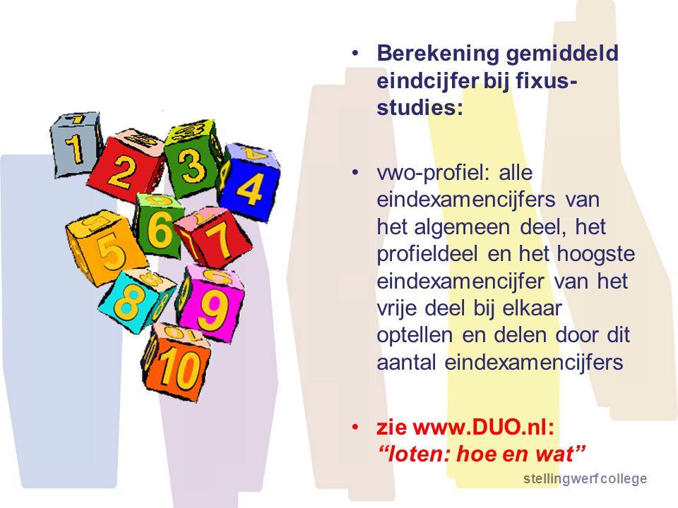 Berekening gemiddeld eindcijfer bij fixus-studies: