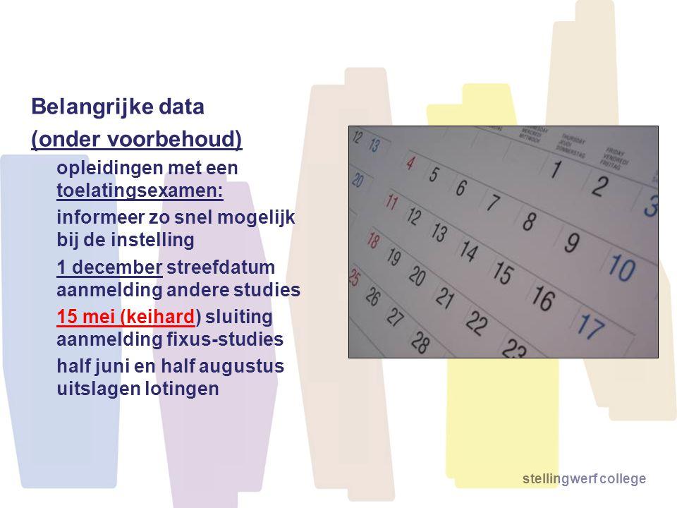Belangrijke data (onder voorbehoud)