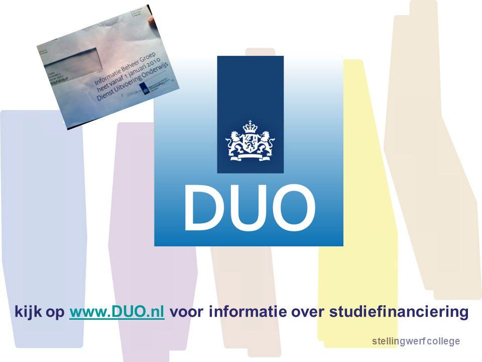 kijk op www.DUO.nl voor informatie over studiefinanciering