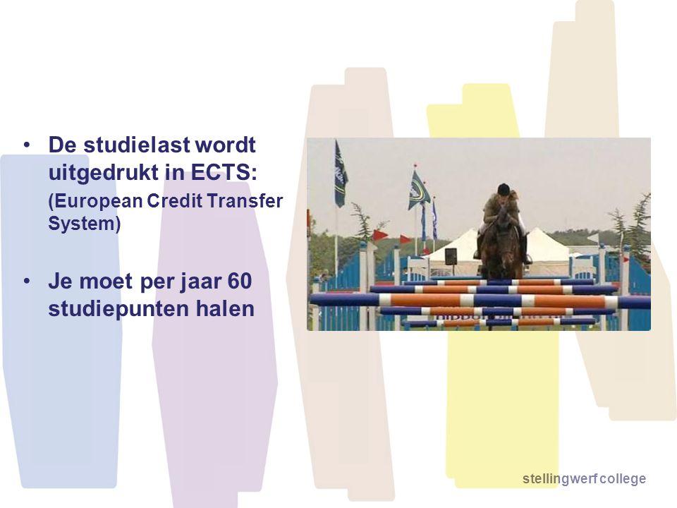 De studielast wordt uitgedrukt in ECTS: