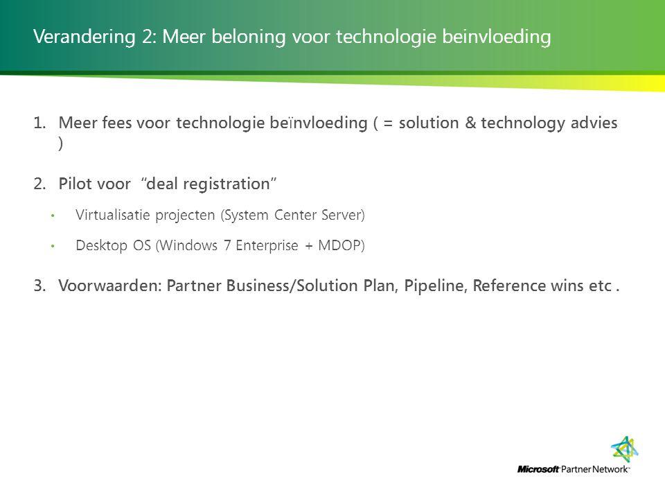 Verandering 2: Meer beloning voor technologie beinvloeding