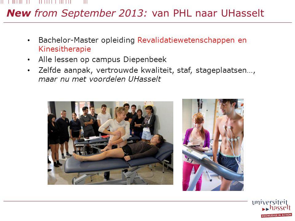 New from September 2013: van PHL naar UHasselt
