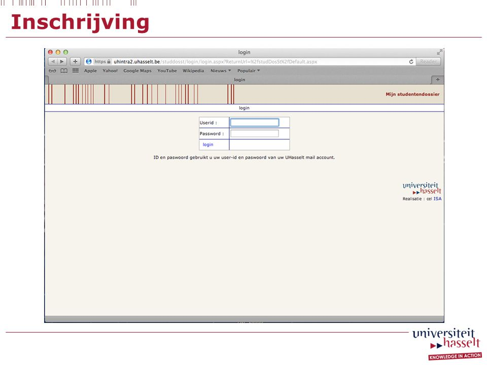 Inschrijving Invoegen screenshot van website: volgende pagina na inloggen op mijn studentendossier om elektronische in te schrijven (Dave)