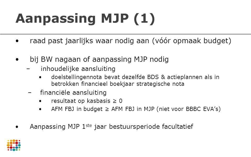 Aanpassing MJP (1) raad past jaarlijks waar nodig aan (vóór opmaak budget) bij BW nagaan of aanpassing MJP nodig.